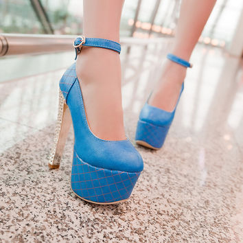 Ankle Straps Studded Women Pumps Platform Dress Shoes High Heels  2797