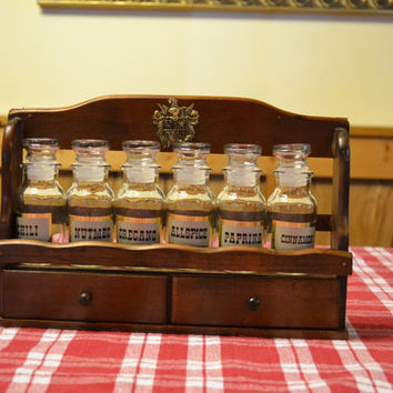 Wooden Spice Rack with Six Jars Two Drawers Vintage Retro PanchosPorch