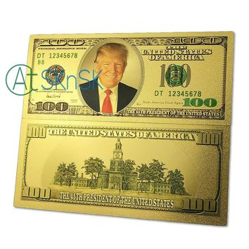 10pcs Newest Commemorative bills  gold foil plated 100 dollars 45th president of the United States Trump banknote money for gift