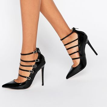 Paper Dolls Hathaway Strappy Croc Print Court Shoes at asos.com