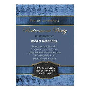 Blue Argyle Classic Retirement Party Invitations