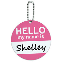 Shelley Hello My Name Is Round ID Card Luggage Tag