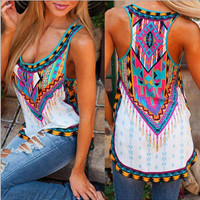 Ethnic Printed Tank Top Vest