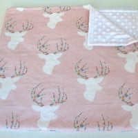 Blush pink deer stag minky baby blanket - woodland - girl - confetti rainbow - pink nursery - modern baby shower gift