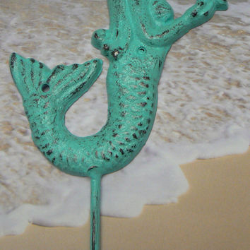 Mermaid Starfish Hook Cottage Chic Aqua Shade Called Dip in Pool Wall Decor Beach Distressed Nautical Coat Jewelry Towel Hat Key Leash Hook