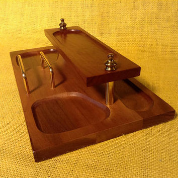 Vintage Mid-Century All Wood Desktop or Dresser Organizer - Vanity - Felt Covered Bottom -