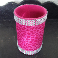 Hot Pink Cheetah Print with Rhinestone Trim Pencil/Makeup brush/Silverware Holder