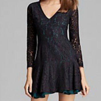 Sam & Lavi Black Lace w/ Green Leah Dress