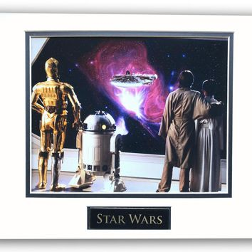 STAR WARS LUKE LEIA C-3P0 & R2-D2 FALCON MATTED LICENSED 8X10 PHOTO FOR FRAME 11X14