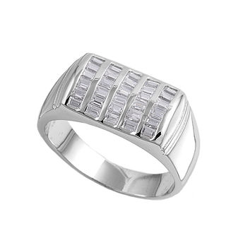 925 Sterling Silver CZ Designer Baguette Men's Ring 11MM