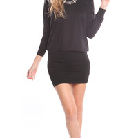 LONG SLEEVE SWEATER BLOUSON DRESS - BLACK