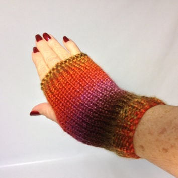 On Sale Fingerless Gloves, Hand Knit Gloves, Knit Gloves, Hand Warmers, Knit Hand Warmers, Orange Gloves Fiber Art, Womens Gloves, Fashion G