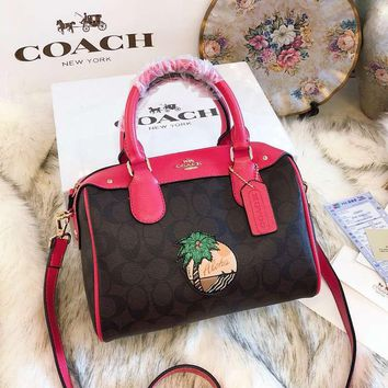 COACH Classic Fashion Women Leather Coconut Tree Pattern Crossbody Satchel Handbag Shoulder Bag I-BCZ(CJZX)