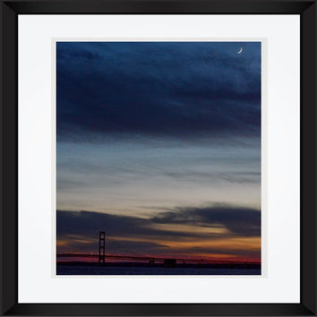 Mackinac Bridge photography Landscape photography sunset photography orange blue pink bridge large poster wall art home decor