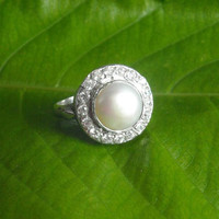 Pearl ring, Wedding ring, artisan ring, anniversary ring, engagement ring, sterling silver handmade ring,birthstone ring