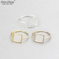 Dainty Open Square Gold Silver Plated Son Of Anarchy Ring for Women BFF Rings