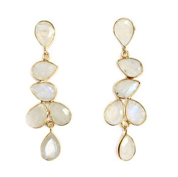 Jackie Moonstone Multi Drop Earrings
