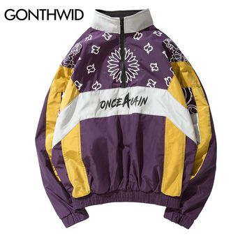 GONTHWID Cashew Flowers Printed Color Block Patchwork Pullover Jackets 2018 Spring Autumn Half Zip Windbreaker CoatS Streetwear
