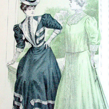 """Vintage Womans Pattern Ad, Illustration, cr. 1906, Matted and Backed, Fashion, Advertising, Antique,11x 14""""    I Take Credit Cards"""