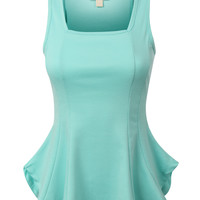 Womens Fitted Sleeveless Scoop Neck Peplum Top