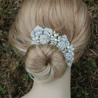 Rosetta Swarovski crystal and pearl elegant bridal hair comb