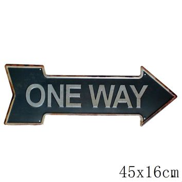 Vintage Irregular ONE WAY  Metal Signs Picture for House Coffee Bar Wall Art Decor Retro Iron Painting YX-80