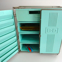 Vintage Supply Storage Cabinet Tiffany Blue Industrial Style
