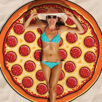 Fashion Pizza Print Beach Towel Sunscreen Shawl Yoga Cushion
