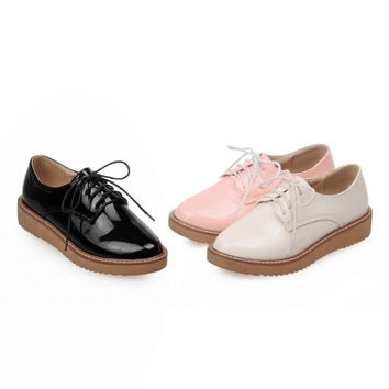 Casual Women Flats Lace Up Shoes