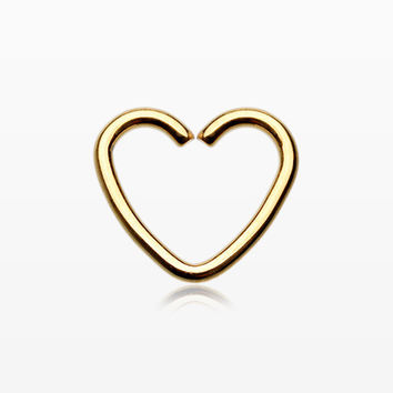 Golden Heart Loop Cartilage Tragus Earring