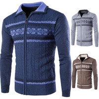 Mens Casual Zip-Up Christmas Sweater