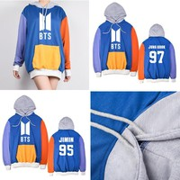 KPOP BTS Bangtan Boys Army   Boys hooded Spell color stitching thin section hoodies  same paragraph Hoodies 2018new AT_89_10