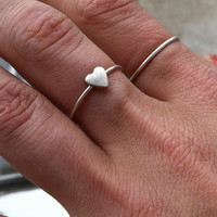 Tiny Heart sterling silver stacking ring - custom made to size