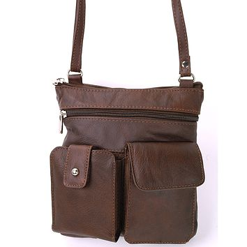 Soft Leather Two Front Purse Brown Color Cross-body Style