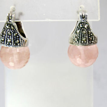 Marcasite Rose Quartz Earrings.  Sterling Silver Pink Faceted Rose Quartz Dangle Drop Earrings.