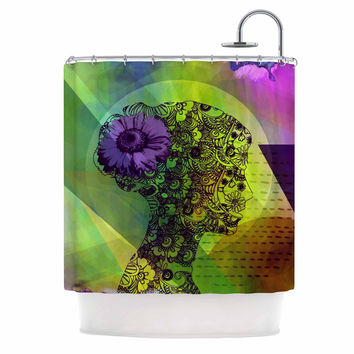 "alyZen Moonshadow ""SILHOUETTE (DARK)"" Green Purple Shower Curtain"