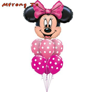 7pcs/lot Minnie Mickey Mouse head Happy Birthday Foil Balloons Decoration Cartoon Party supplies 2.8g wave point latex Balloon