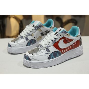 Supreme x Kaws x Bape x Nike Air Force 1 Low AF1 Customize Graffiti Sport Shoes - Best Online Sale