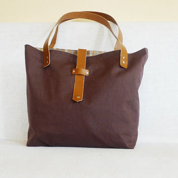 Brown  Linen Tote   Leather Double Strap Shoulder bag by ottobags