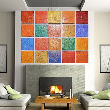 Wood Block Art - Unique Textured Paintings - Large Modern Art - Acrylic Abstract Paintings -  Wood Panel Wall Art - Wood Wall Sculpture
