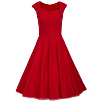 Women's Retro Vintage Cap Sleeve Party Swing Dress