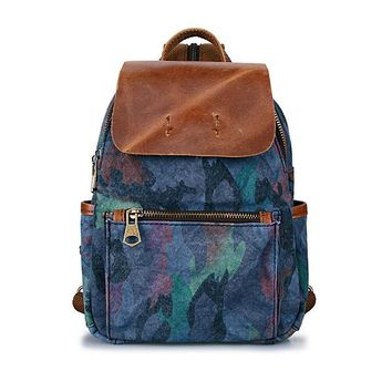 Student Backpack Children G-FAVOR Brand Female Canvas Backpack Preppy Style School Girl Student backpack Camouflage Bag Women Canvas Leather Zipper Bags AT_49_3