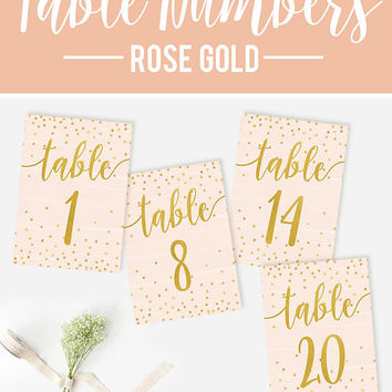 Wedding Table Numbers, Rose Gold Table Numbers, Reception Confetti Table Numbers, DIY Wedding, Wedding Printable Table Numbers, Rustic