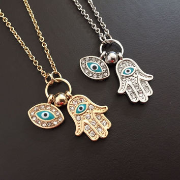 Hot Sale Vintage Arab Crystal Evil Eyes & Hamsa Hand Pendants Necklace Brand Luck Fatima Hand Gold Chain Statement Necklace