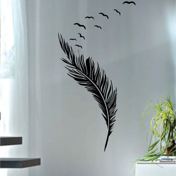 Feather with Birds Design Animal Decal Sticker Wall Vinyl Decor Art