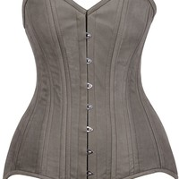 Daisy Corsets Top Drawer CURVY Olive Green Cotton Double Steel Boned Corset