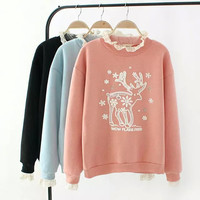 Deer Print Embroidered Lace Sweater