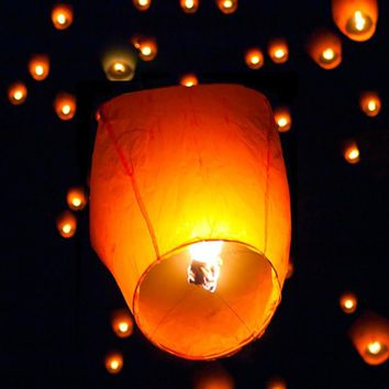 50 Pack White Paper Chinese Lanterns Sky Fire Fly Candle Lamp Wish Party Wedding US