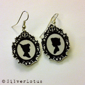 Peter Pan and Wendy Cameo earrings