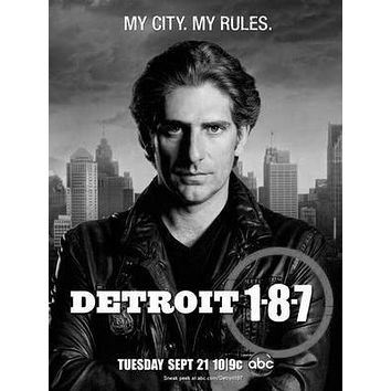 Detroit 187 poster Metal Sign Wall Art 8in x 12in Black and White